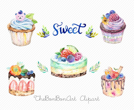 Birthday cake watercolor. Clipart bakery cupcake