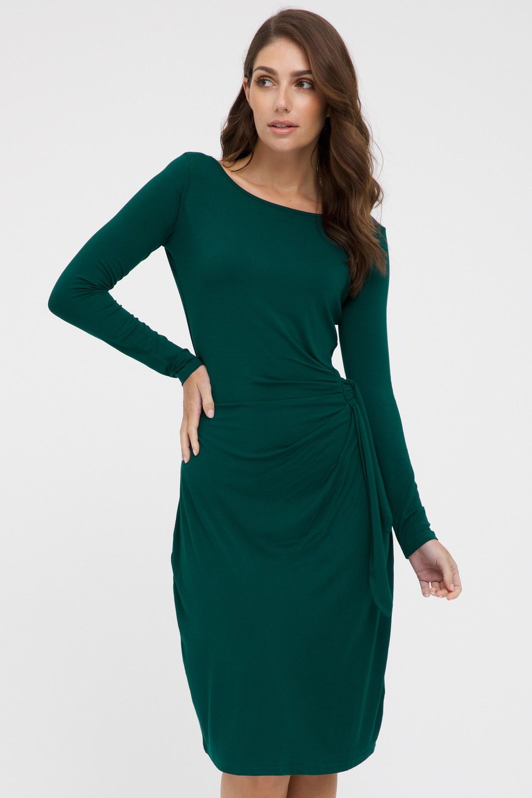 This Long Sleeve Fitted Dress In Dark Emerald Green Features An Elegant Wide Boat Neckline And A Line Shaped Skirt Long Sleeve Fitted Dress Shape Skirt Dresses [ 1600 x 1067 Pixel ]
