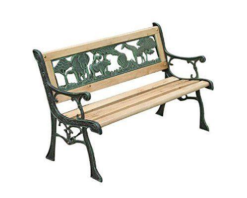 Charles Bentley Garden Wooden Outdoor Kids Bench With Jungle