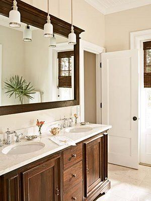 Dark Wood Tan Walls White Trim White Counters White Towels Like The Large Mirror And Cool Lights With Images Bathrooms Remodel Bathroom Mirror Makeover Bathroom Mirror