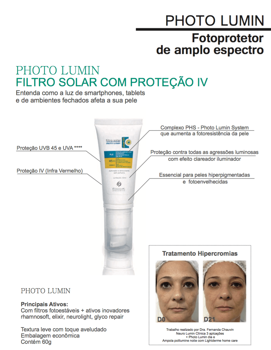 Produto  PHOTO LUMIN Protetor Solar de amplo espectro com efeito clareador,  45 FPS e 00f46503f8
