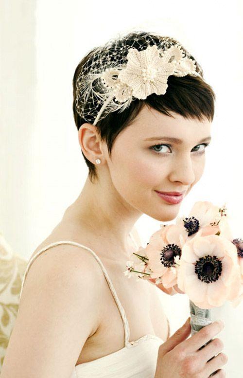 So cute, Love the hair piece.....           25 Best Wedding Hairstyles for Short Hair 2012 – 2013