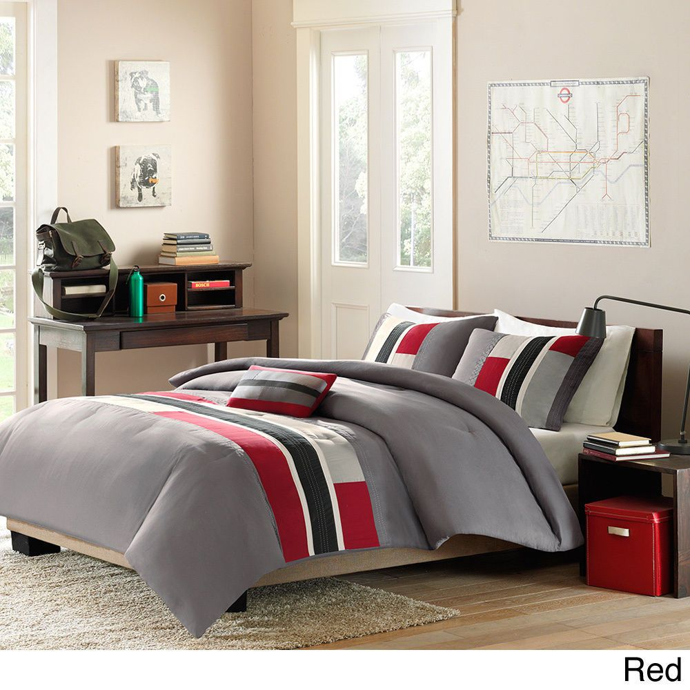 sporty grey red black ivory white stripe boys soft comforter set w pillow new jason boy 39 s. Black Bedroom Furniture Sets. Home Design Ideas
