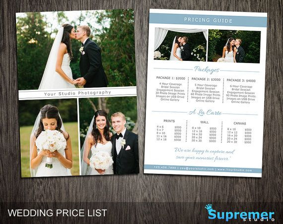 Wedding Price List Template Wedding Photography by SupremerStudio - wedding price list