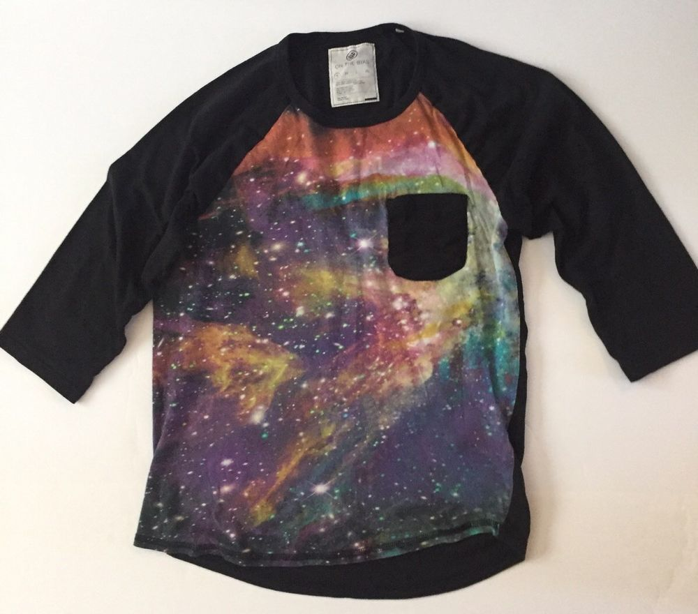 On The Byas Mens 3 4 Sleeve Shirt Small Galaxy Design Onthebyas Graphictee Vintage Clothing Men Mens Shirts Mens Outfits