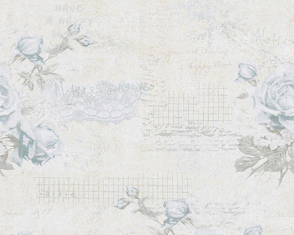 tapete landhaus blumen creme blau djooz 95667 3. Black Bedroom Furniture Sets. Home Design Ideas