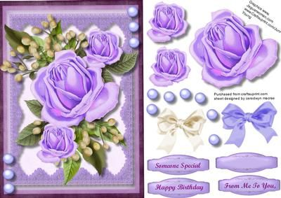 Beautiful Lilac roses and babys breath  on Craftsuprint - Add To Basket!
