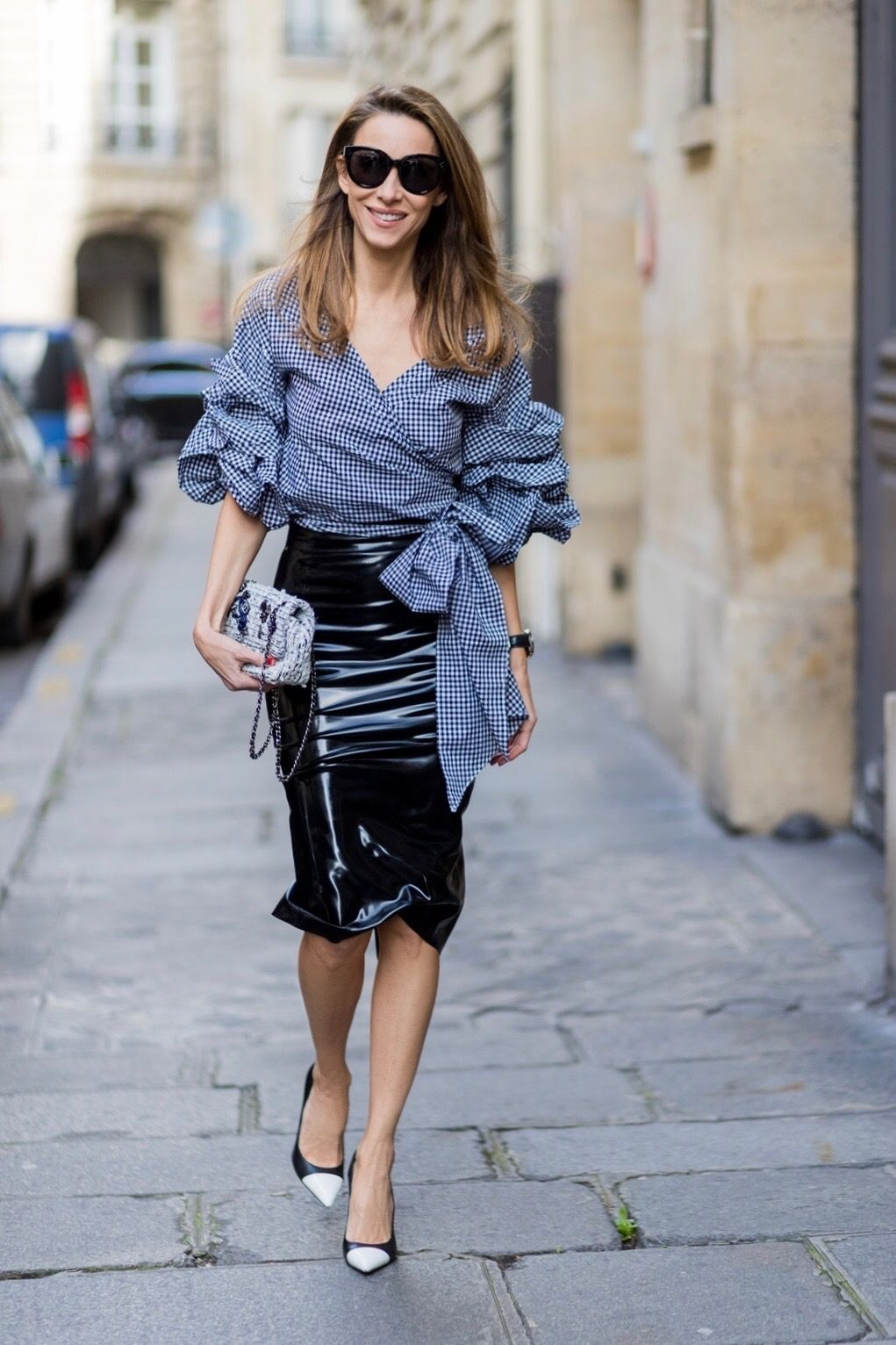 5b8066593a PARIS  FRANCE  Model and Blogger Alexandra Lapp wearing latex skirt and  ruched sleeve top