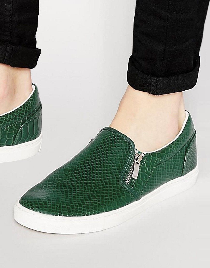 d57d3153e8b Image 1 of ASOS Slip On Sneakers in Green With Snake Skin Effect ...
