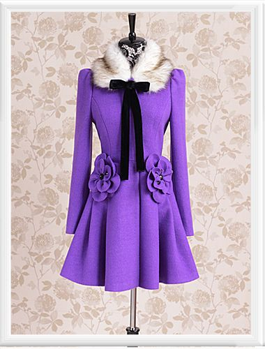 Morpheus Boutique  - Purple Hair Collar Bow Button Down Wool Long Sleeve Lovely Coat, CA$205.11 (http://www.morpheusboutique.com/purple-hair-collar-bow-button-down-wool-long-sleeve-lovely-coat/)