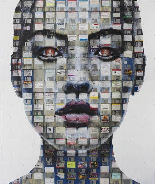 Nick Gentry. Paintings on found or recycled painting surfaces.
