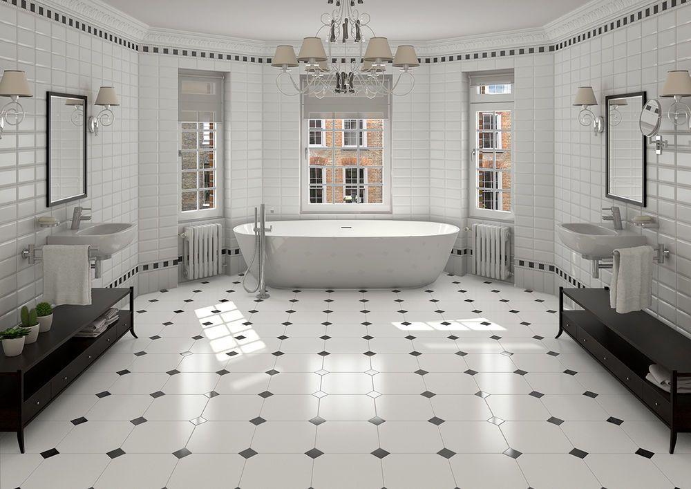Victorian Octagon Floor Tile With Black Taco Black And White Bathroom Floor White Bathroom Tiles White Vinyl Flooring