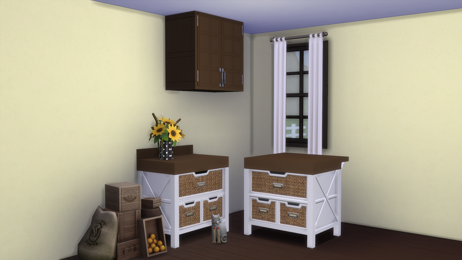 Sims Kitchen Kyms Creations Vault Modular Kitchen Recolor With Wicker Baskets