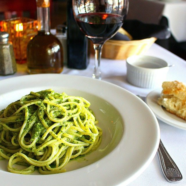 ITALY courses: PASTA, then MEAT/VEGGIES, Then BREAD  Drink WINE or MINERAL WATER only with meals.   ESPRESSO after MEAL or 2nd glass of wine.  Linguine al pesto and a nice glass of wine....perfect Sunday dinner!