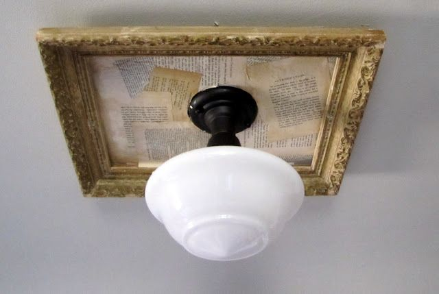 Adding Vintage Paper to a framed light fixture } | Repurpose