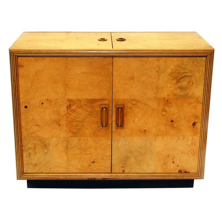 1stdibs Henredon Scene Two Olive Burl Flip Top Dry Bar Server Cabinet Biedermeier