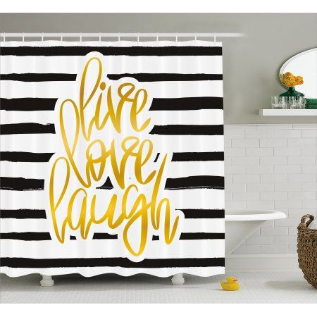 Live Laugh Love Shower Curtain Poster Design With Hand Drawn Stripes And Calligraphy