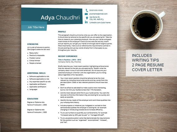 Creative resume template for word with cover letter and references