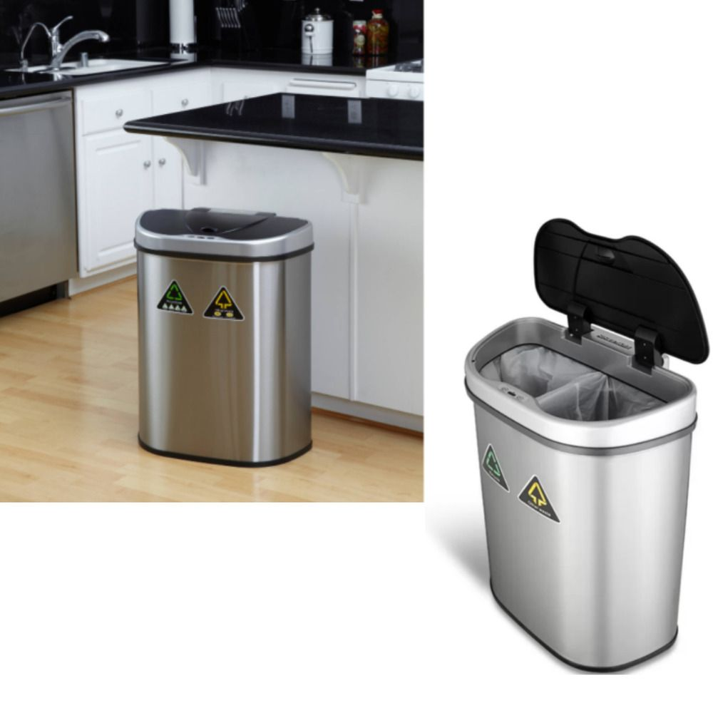 Garbage Can Garbage Can Ideas Garbage Can Garbagecan Double Stainless Steel Recycling Trash Bin Garbage Sor Trash Bins Garbage Can Trash And Recycling Bin