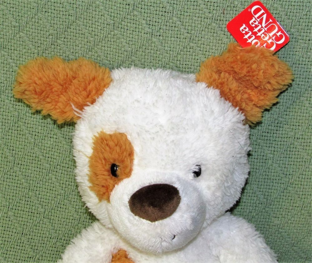 "Gund FUZZY SPOTTED DOG 13"" New with Tag Plush Stuffed White Tan Puppy SOFT Toy #GUND"
