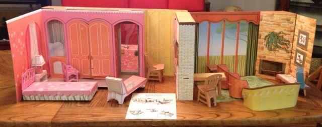 Vintage 1964 Mattel Barbie S New Dream House Cardboard Playset Furniture Ebay Barbie Doll House Barbie House Mattel Barbie