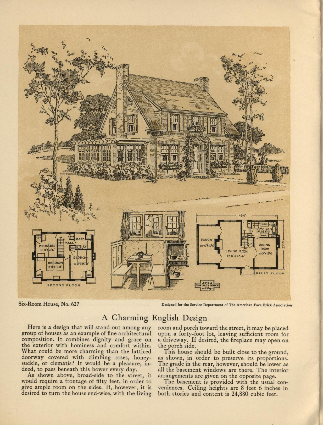 Six Room Face Brick Bungalow And Small House Plans 2nd Ed Brick House Plans Vintage House Plans House Plans