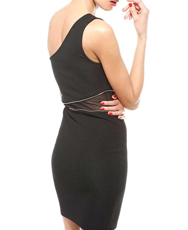 Diagonal Shoulder Waist Zipper Dress