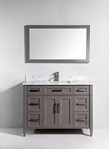 Vanity Art 48 Inch Bathroom Set With Carrara Marble Stone Free Mirror Va2048