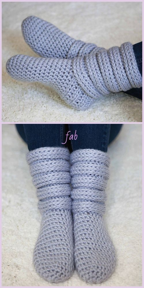 Crochet Women Slouchy Slipper Socks Free Crochet Patterns Paid