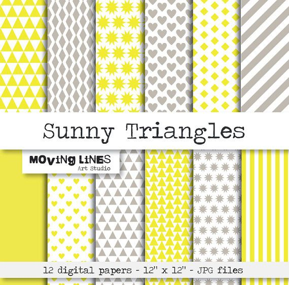 Digital Scrap Book Yellow Wallpaper, Sunny Triangles, Yellow and Gray Web Background, Geometric Triangles Hearts Stars