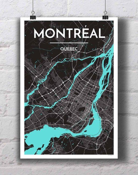 Montreal City Map Print City Map Art Personalized Map Art Map Art