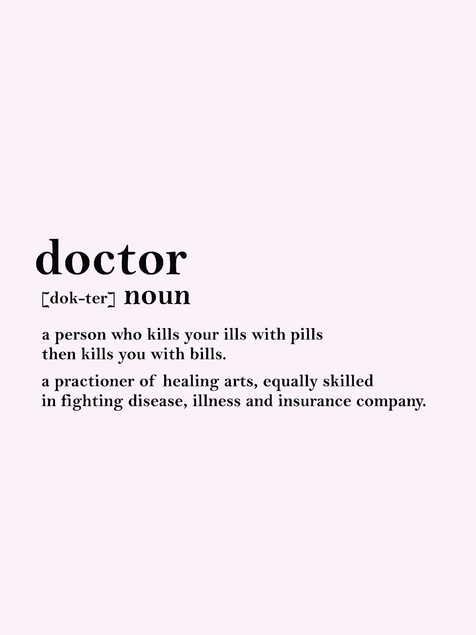 Doctor Word Funny Definition Wall Art Wall Frame Home Decor