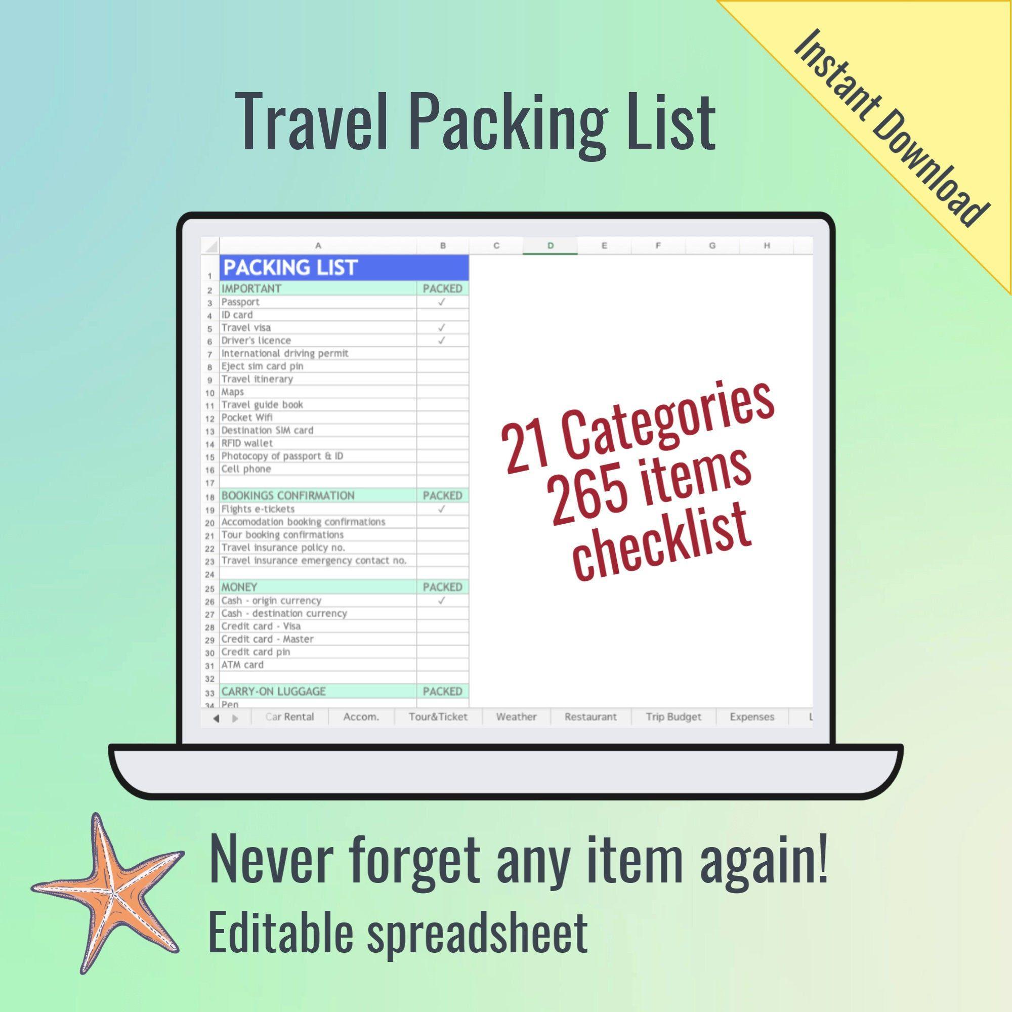 Travel Packing List Sky Blue Spreadsheet Printable Packing List For Travel Packing List Travel Packing