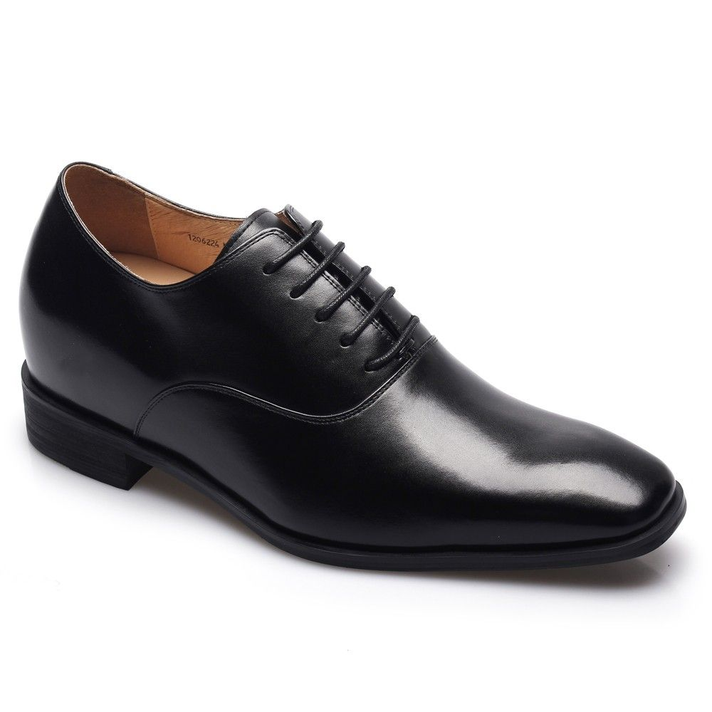 Black Leather Height Increasing Dress Shoes for Men; MODEL: K6532 ...