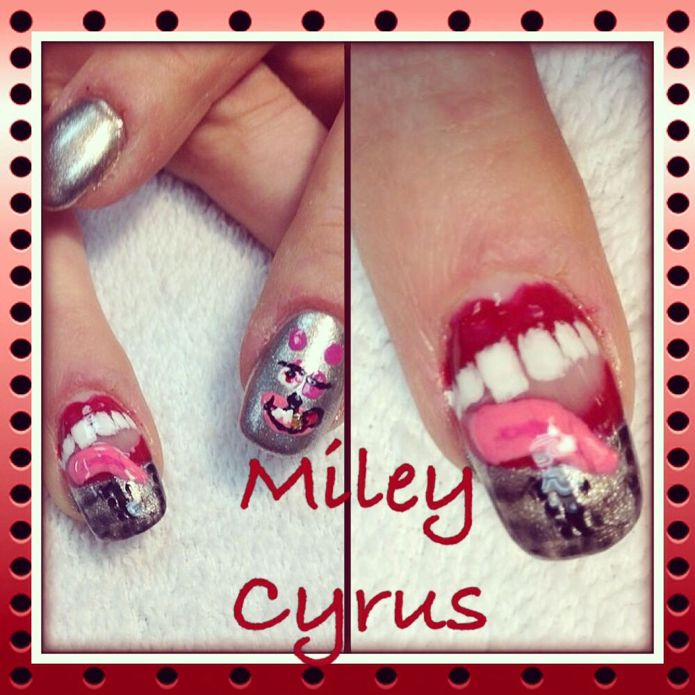 My sisters Miley Cyrus Nails done by Deedee Sesemann   Glee ...