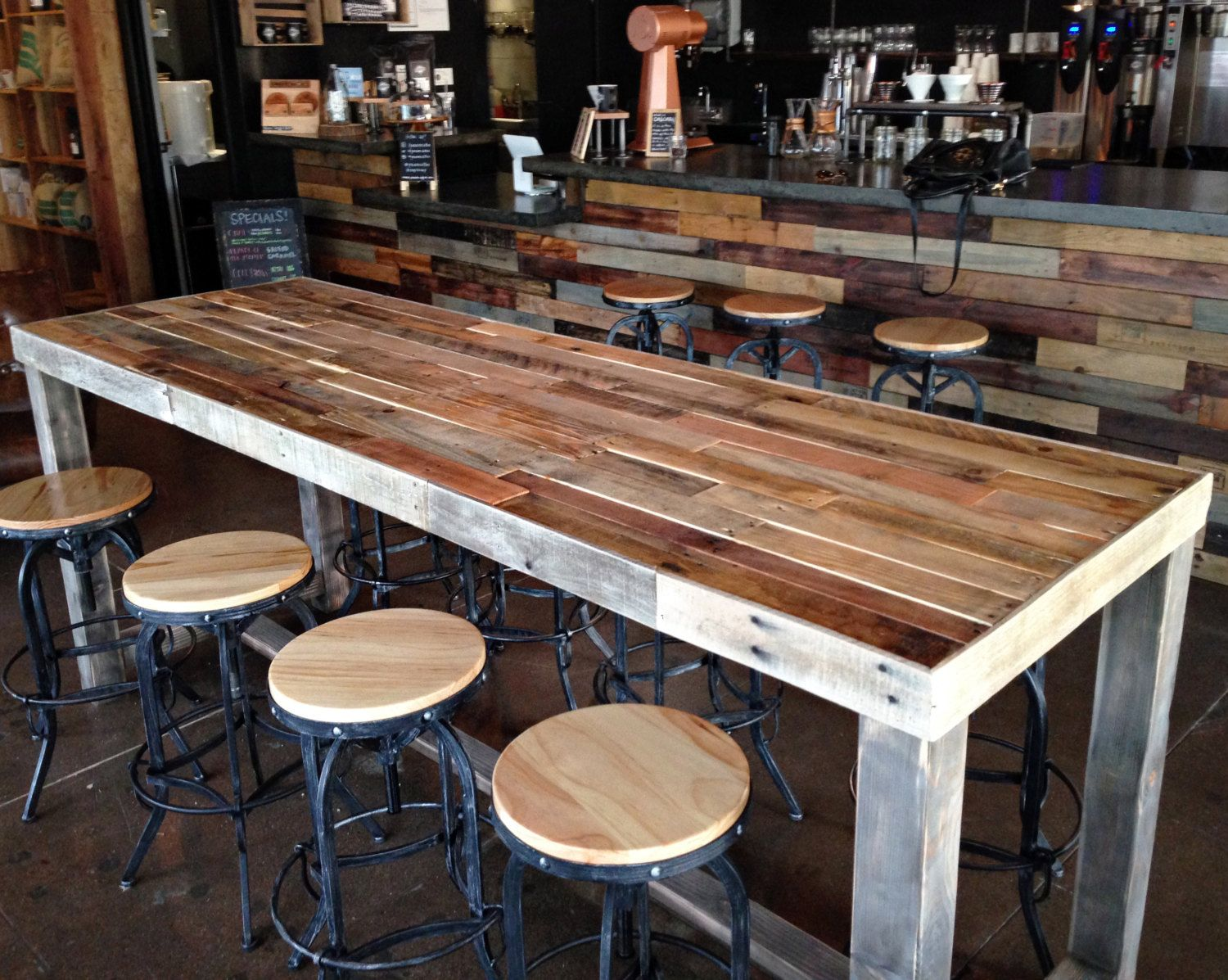 Reclaimed wood bar restaurant counter community by for Pub style kitchen table