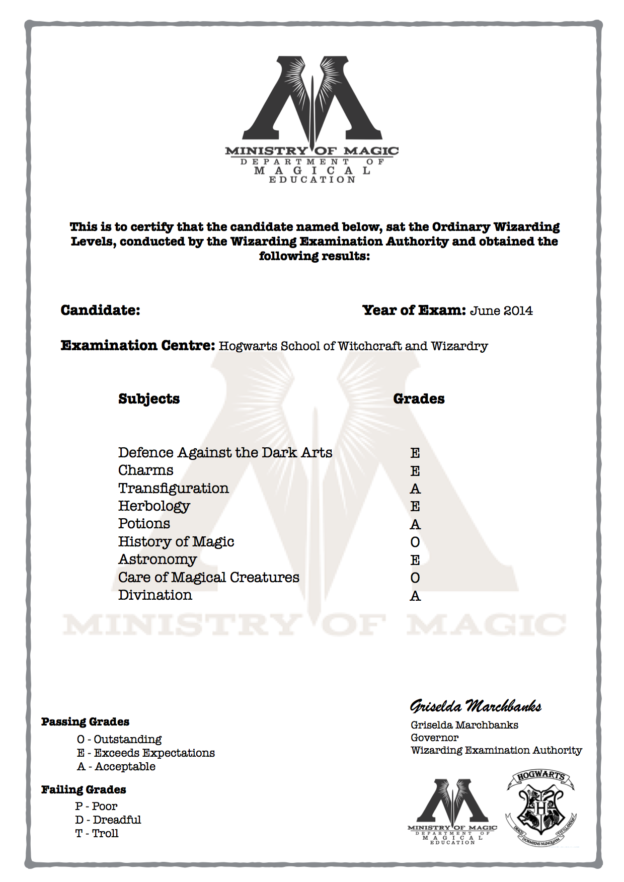 Harry Potter O W L S Certificate With Grades