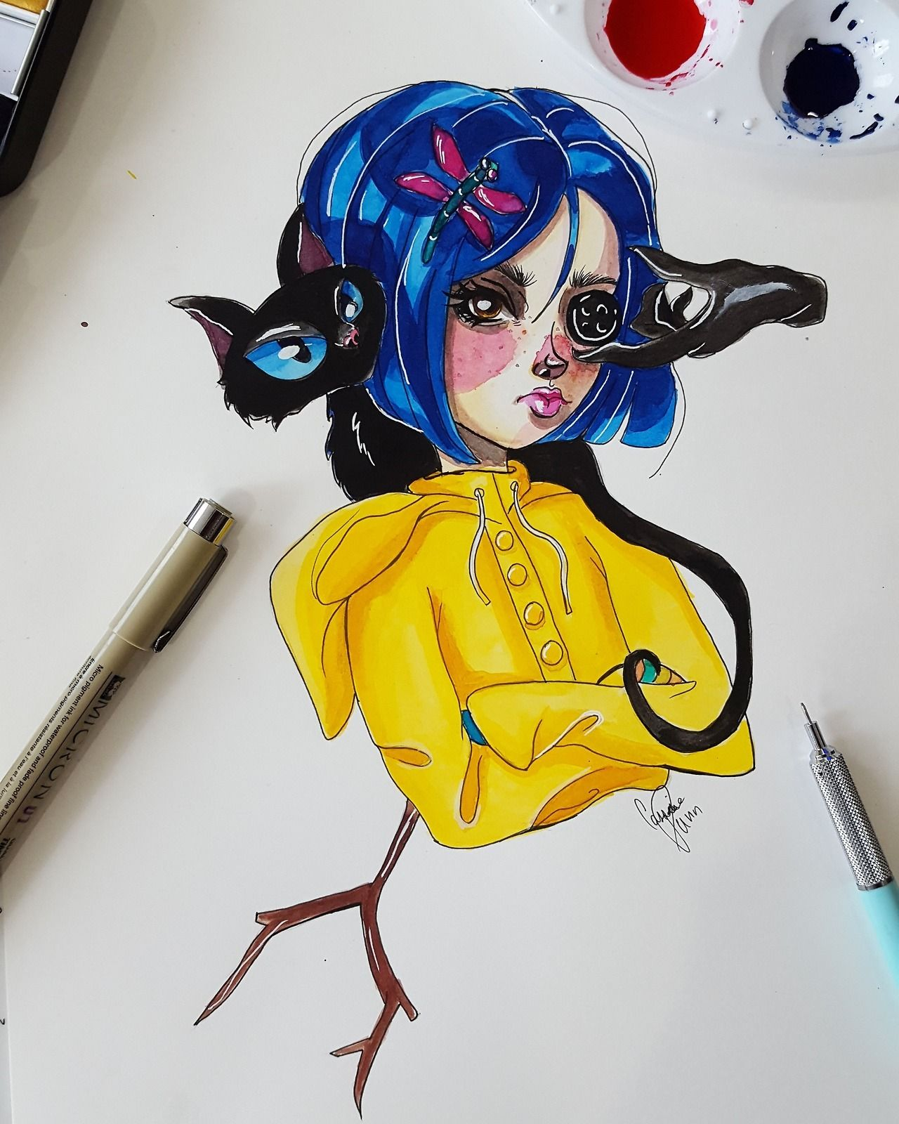 Deceiverofgods Makin Up A Song About Coraline She S A Peach She S A Doll She S A Pal Of Mine She S As Cute As A Bu Coraline Drawing Coraline Art Coraline