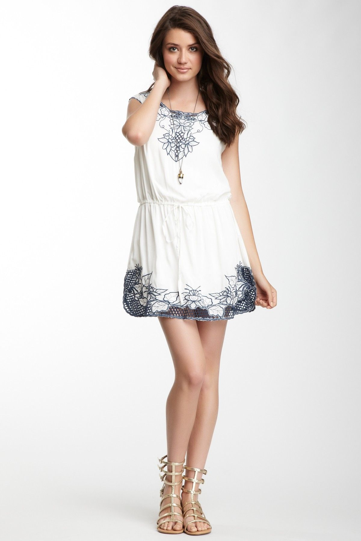Embroidered Mesh Drawstring Dress on HauteLook
