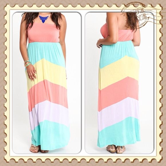 Plus pastel multi color maxi Multi color maxi dress comes in sizes 1X2X3X Dresses