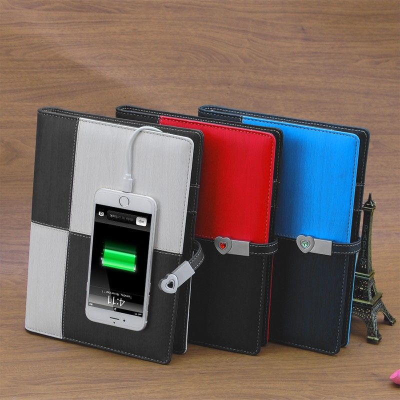 New Products 2017 Diary Planner Loose Leraf Notebook With Power Bank And Usb Diary Planner Planner Notebook Planner