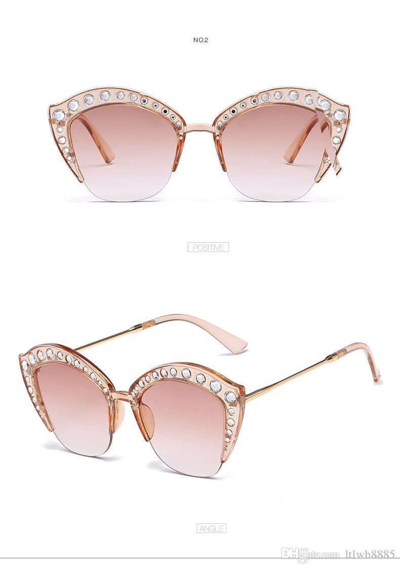 b7eaa2dfba1 2018 New Luxury Brand Designer Ladies Cat Eye Sunglasses Women Diamond  Frame Sun Glasses Crystal Stone Oversized Sunglasses For Female Dragon  Sunglasses ...