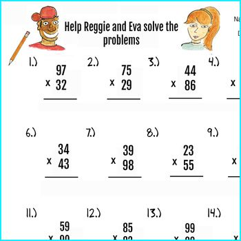 2pgs Double Digit Multiplication Worksheets and Answer key, 50 ...