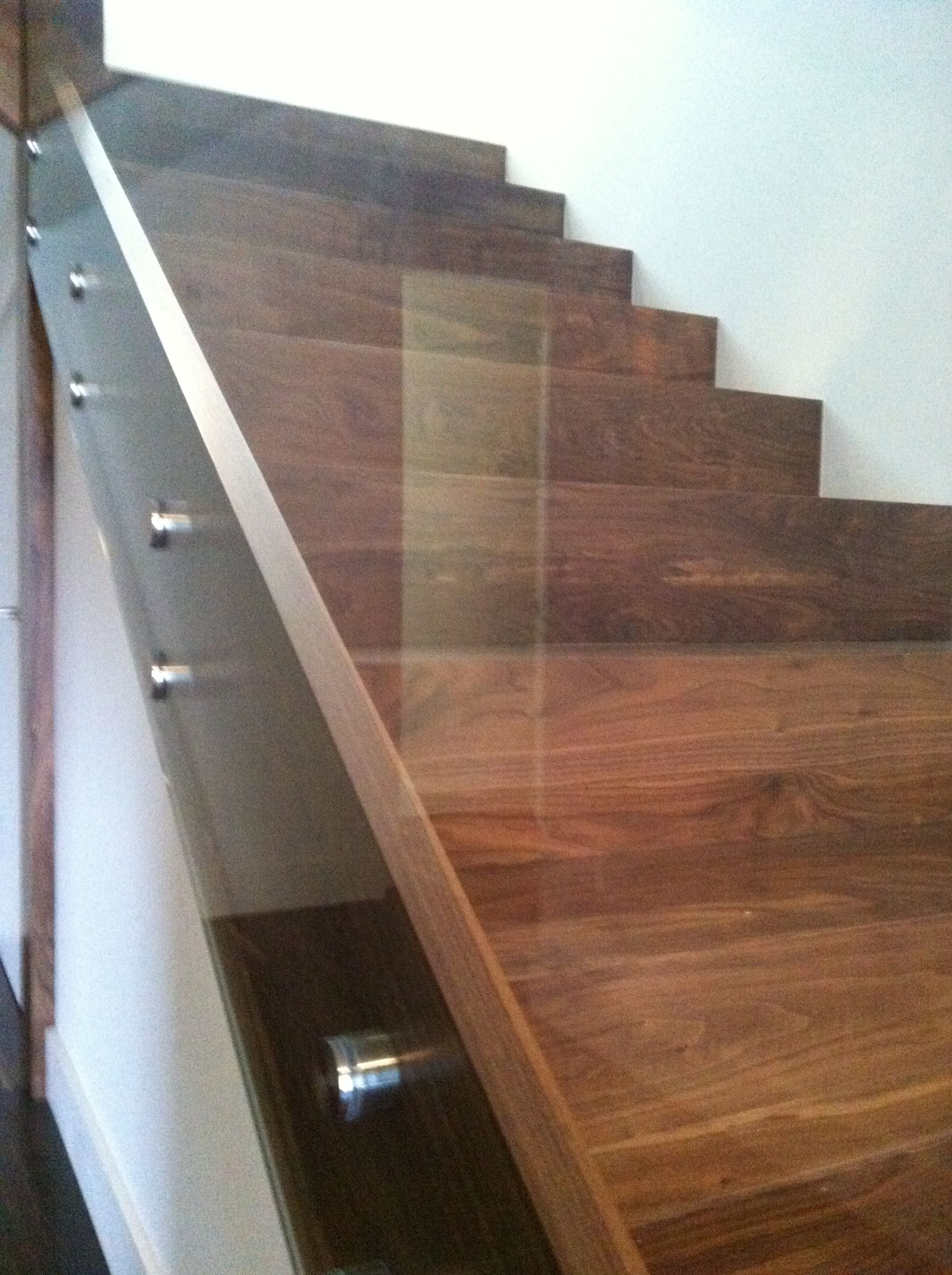 Best Walnut Stairs With A Glass Railing Contemporary Stairs 400 x 300
