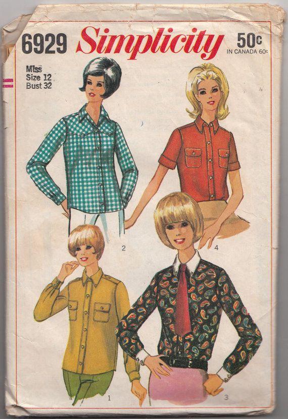 40d36fbd0e70c8 Misses Shirts Vintage 1960s Simplicity Sewing Pattern 6929 Size 12 Bust 32  Mod Tops/Blouses/Button D