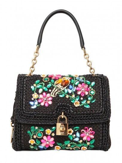 Borsa a spalla nera a fiori Dolce   Gabbana  257eeb0574ff1