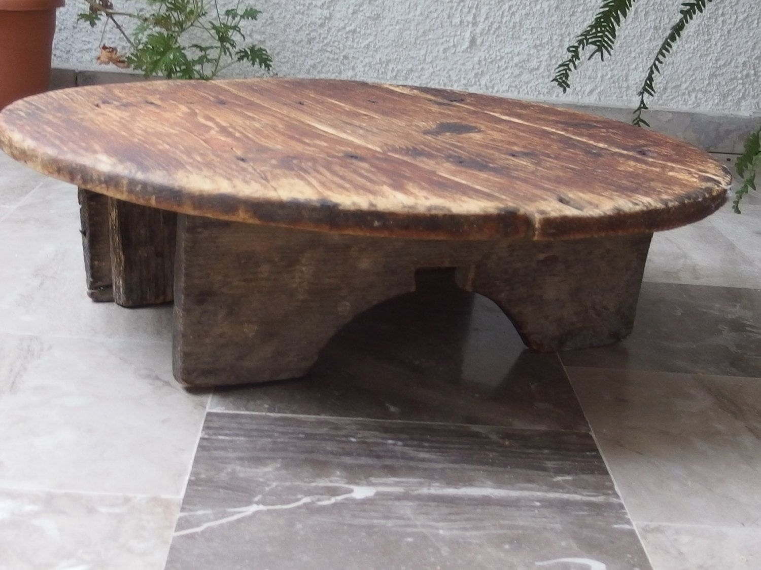 Primitive Wooden Round Table, Farm Table, Low Wooden Table, Antique Wood  Table,