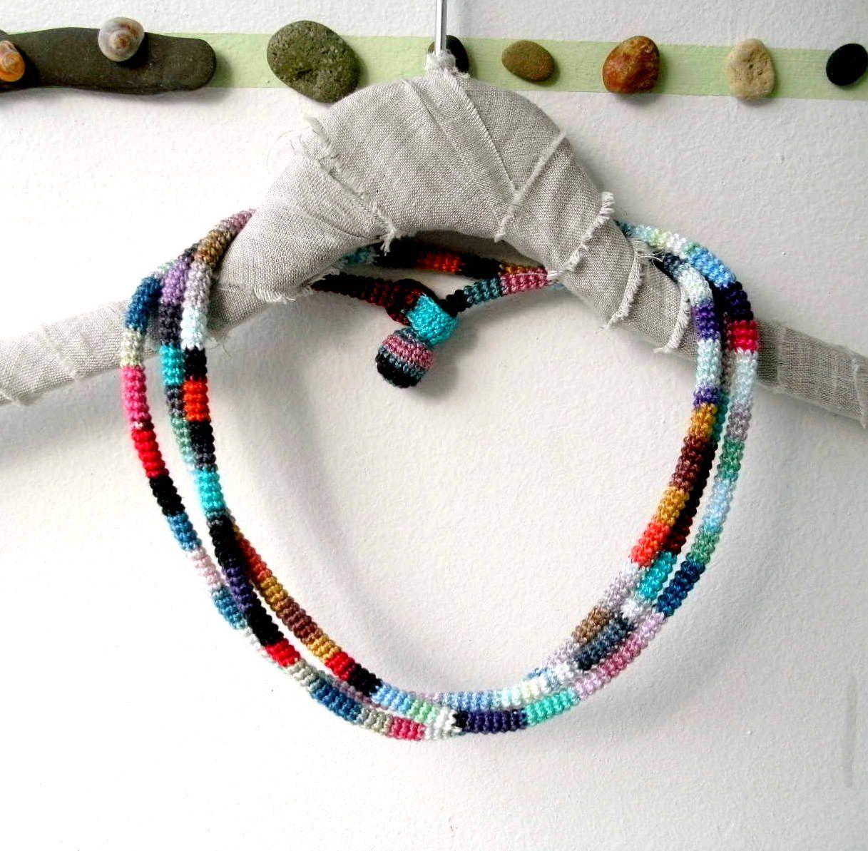Crochet Wrap Necklace / Bracelet - Crochet Wrap Bracelet - Versatile Crochet Jewelry  - Colorful - Extra Long - OOAK. $49.00, via Etsy.