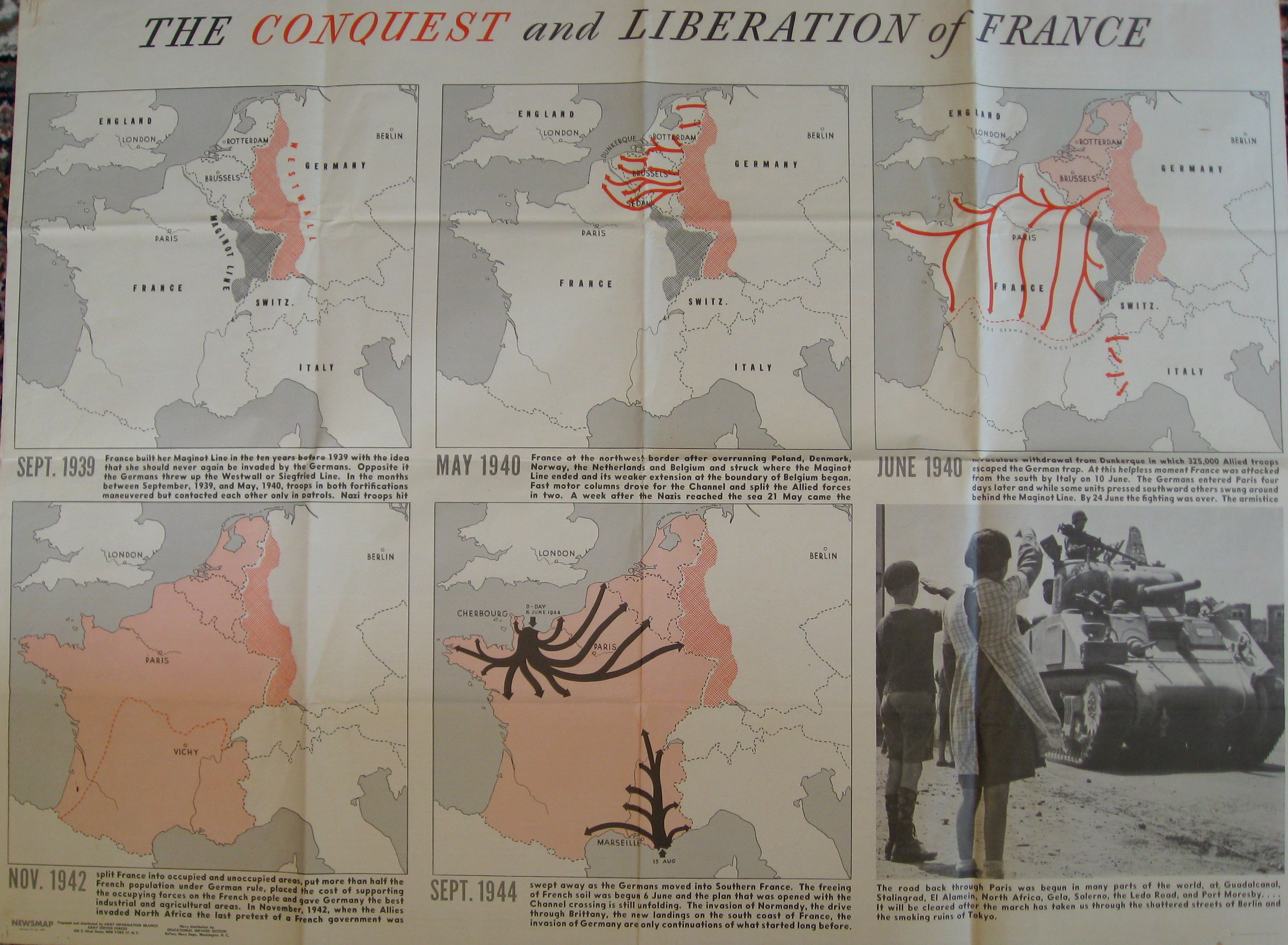 World War II Conquest And Liberation Of France Antique Map - Us government maps