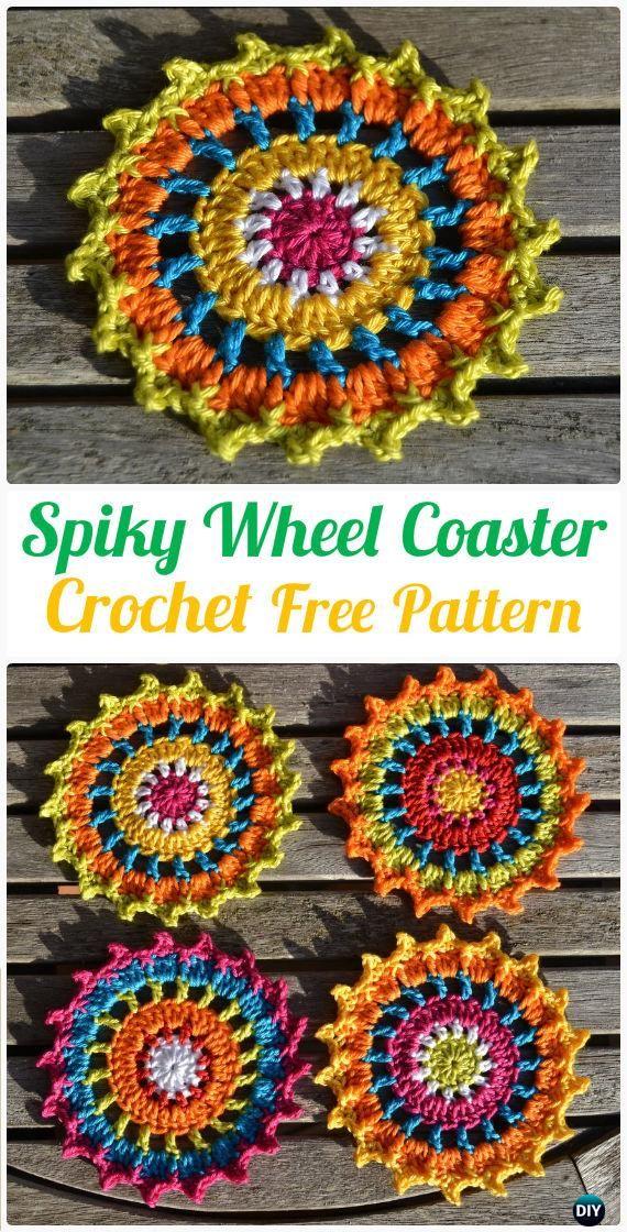 Crochet Spiky Wheel Coaster Free Pattern - #Crochet; Coasters Free ...